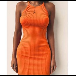Dresses & Skirts - Fashion Woman Backless Dress In Orange And Black